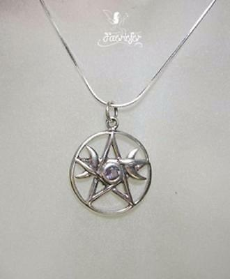 Triple Moon Pentagram pendant necklace with amethyst stone silver .925 pagan