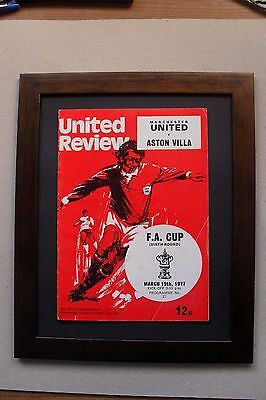Manchester United programme 1977, 40th birthday ,FA cup.framed.