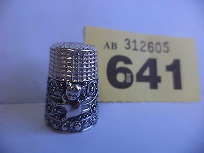 Vintage Continental / European .925 Solid Silver Thimble with Cat / Kitten Decor