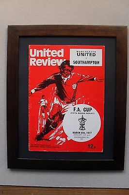 Manchester United programme 1977,40th birthday,FAcup,framed