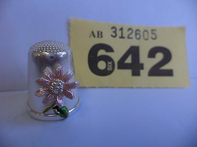 Vintage Continental / European .925 Solid Silver Thimble with Flower Decoration