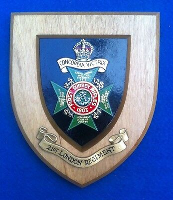 21st LONDON REGIMENT FIRST SURREY RIFLES WALL PLAQUE IN EXCELLENT CONDITION