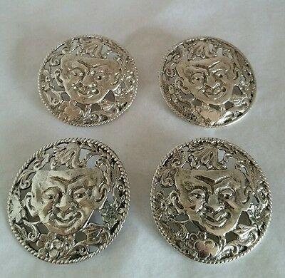 Set of four Victorian sterling silver buttons.Birmingham 1897.By Nathan & Hayes