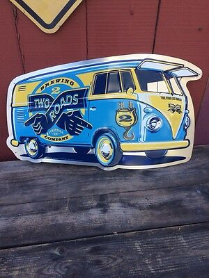 """Rare Two Roads Brewing Large 29"""" Volkswagen Bus Tin Beer Sign CT Stratford Bar"""