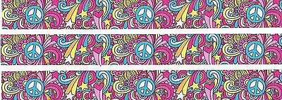 FLORAL LOVE PEACE 22MM Grosgrain Ribbon Craft Bow Sewing Cake Pink Metre RB9