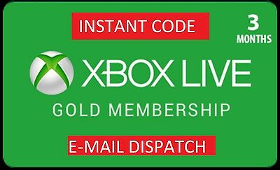 Microsoft Xbox Live Gold Membership 3 Months **Digital Code** 24H Despatch!