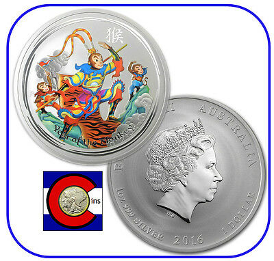 2016 Lunar Monkey King 1 oz Colorized Silver Coin, from Perth Mint in Australia