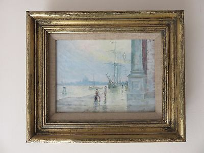 Lovely 19Thc Framed Original Oil On Canvas - Boats Venice Grand Canal Signed