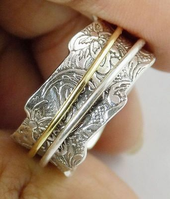 Georges 925 Sterling Silver Spinner Plain Band Two Tones Silver Designing Ring