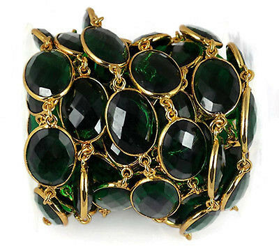 1 Feet Emerald Hydro Oval Faceted Connector Chain 24k Gold Plated 12X16mm Beads