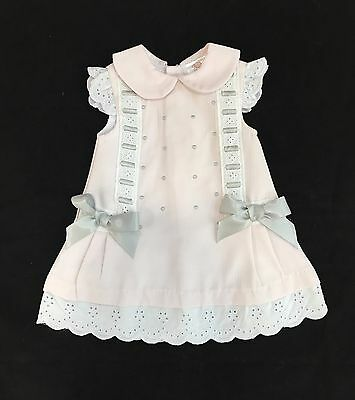 Beautiful Baby's Girl Pink Spanish A-Line Dress/Romany/Grey Bows/0-36Mths