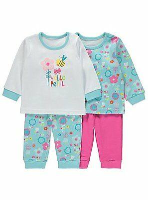 Baby Girls Floral 2 Pack Assorted Print Pyjamas size 6-24 months