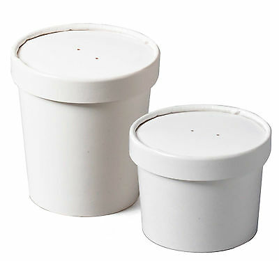 100 x White Paper Ice Cream Tubs / Heavy Duty / Lids Available in 12oz 16oz 26oz