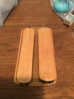 Vintage Retro 1960S Wall Mounted Wooden Clothes Brush Set In Teak