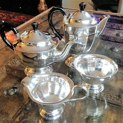Vintage 4 Piece 6-Cup Sheffield Silver Plate A1 Tea Service Set Lovely Condition