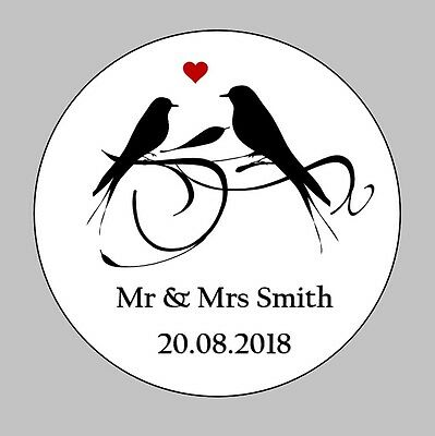 105 Personalised Round Wedding Stickers/Labels Envelopes Seals Heart Ring Bird