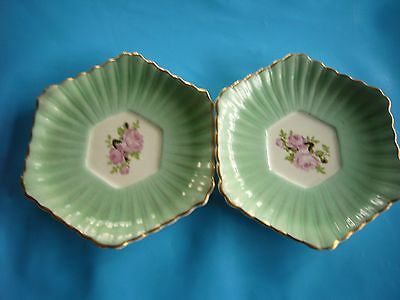 Vintage Retro two saucers / pin dishes Green with Roses centre - Thomas Hughes