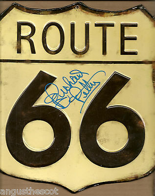 Richard Petty autographed reproduction ROUTE 66 sign size: 10.5 X 10.5 inches