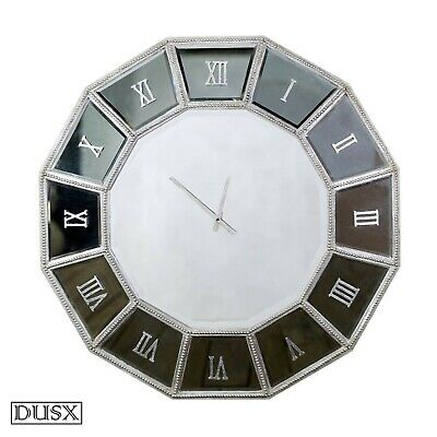 Silver Italian Venetian Style Sunburst Mirrored Decorative Wall Mounted Clock