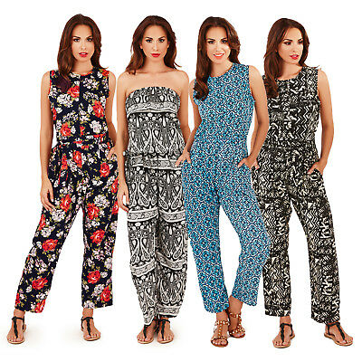 Pistachio Womens Patterned Jumpsuit Ladies Bandeau Or Sleeveless Summer Playsuit