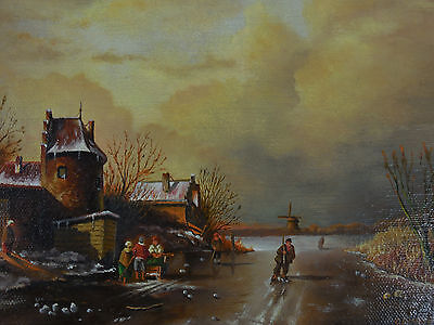 Dutch Oil Painting Canvas Landscape Signed Winter Scene Holland Just Lovely