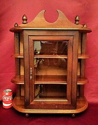Vtg French Curio Wall Cabinet Diplay Case Vitrine Shelves