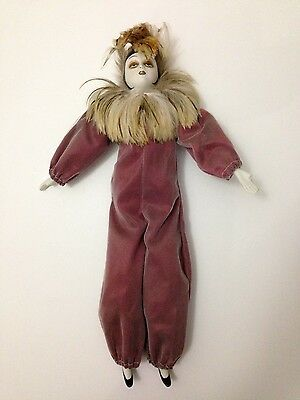 """Vintage Porcelain Pierrot Clown Mime Jester Harlequin 18"""" Doll Feathers (AS IS)"""