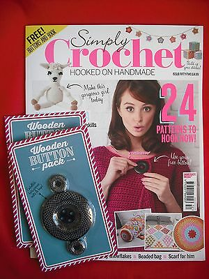 Unread Simply Crochet Magazine Issue 52 with 2 packs of Wooden Buttons