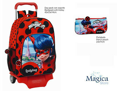 Ladybug Miraculous backpack Trolley 42cm + pencil case 22cm Brand New Official