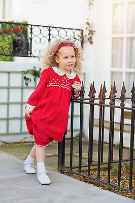 Aurora Royal Girls Red Corduroy 3 Piece Hand-Smocked Dress Outfit