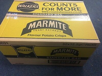 WALKERS MARMITE CRISPS 32.5g BAGS BOX OF 32~ RETRO PARTY VEGETARIAN ONLY £16.99