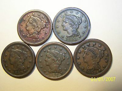 Five Braided Hair Large Cent 1849,1850,1851,1852 and 1853