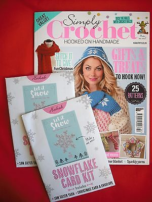 Unread Simply Crochet Magazine Issue 50 with x2 Snowflake Card Kits