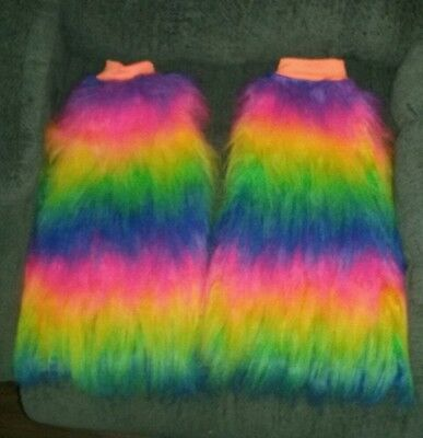 rainbow furry boot covers