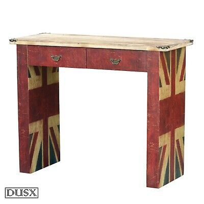 DUSX Vintage Retro Union Jack Wooden 2 Drawer Dressing Table Desk Console Table