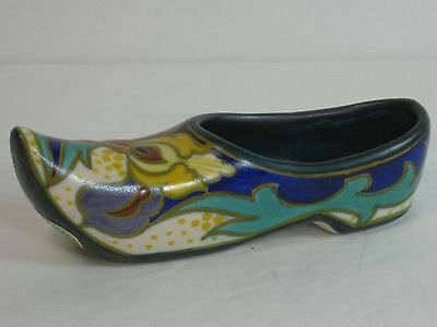 Royal Zuid Gouda Holland Art Pottery Hand Painted Signed Shoe, Label, Mint, Fab!