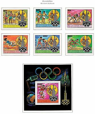 CENTRAL AFRICA 1981, $110, RED OVP MNH SET+Sheet,MOSCOW Olympics RARE