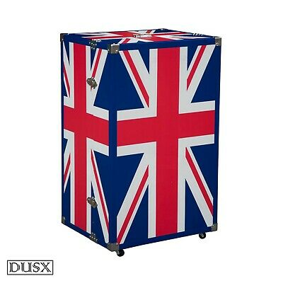 DUSX Vintage Retro Union Jack Boys Room Blue Five Drawer Luggage Trunk