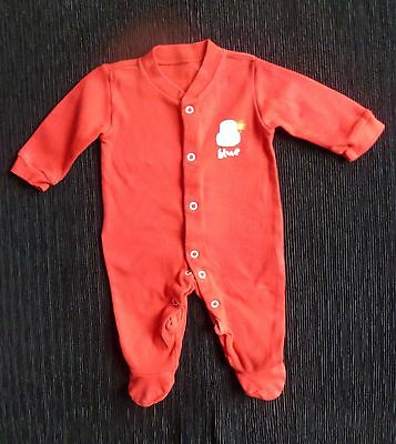 Baby clothes BOY George newborn 0-1m bright red+blue car/poppers soft babygrow