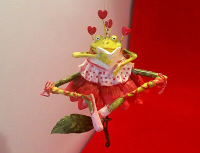 Krinkles Patience Brewster Ballerina Red Poinsettia Frog Ornament Valentines Day