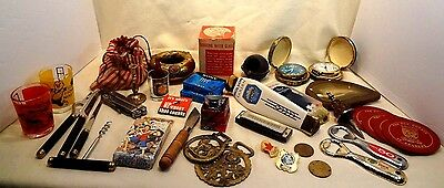 Vintage Junk Drawer Lot Collectibles Barware Ashtray Knife Marbles Horse Brass