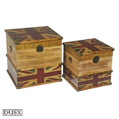 DUSX Vintage Retro Union Jack Boys Room Wooden Set of two Storage Trunks