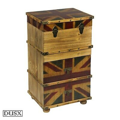 DUSX Vintage Retro Union Jack Boys Room Wooden Tallboy Chest of Drawers