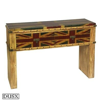 Vintage British Union Jack Wooden 2 Drawer Dressing Table Shabby Chic Furniture