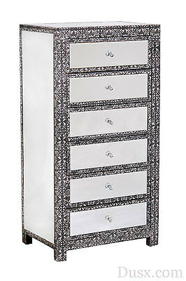 Blackened Silver Metal Embossed Mirrored 6 Drawer Tallboy Chest of Drawers