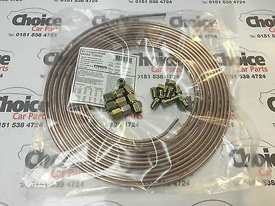 25 ft 3/16 Cupro-Nickel Tube Brake Pipe With 10 Male and 10 Female Fittings Nuts