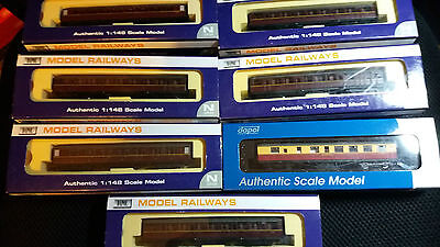 Dapol N gauge LNER Gresley coaches New boxed x7