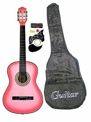 "38"" PINK Acoustic Guitar Starter Package Guitar Gig Bag Strap Pick & Directly..."