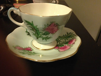 """Vintage Foley """"GlenGarry Thistle"""" Tea Cup and Saucer"""