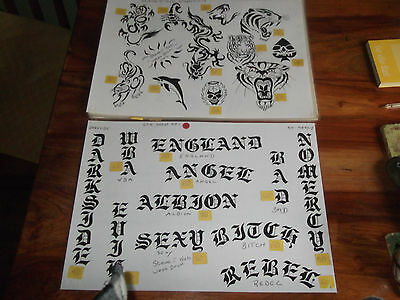 12 a3 hand drawn tattoo sheets by steve t kat laminated